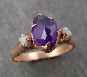 Partially Faceted purple Sapphire 14k Rose gold Multi Stone Ring Gold Gemstone Engagement Ring Raw 1663