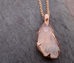 Fancy cut Moonstone 14k Rose gold Pendant Gemstone Necklace gemstone Jewelry byAngeline 2045