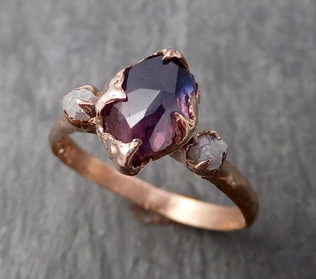 Partially faceted Raw Sapphire Diamond 14k rose Gold Engagement Ring Wedding Ring Custom pink and blue Gemstone Multi stone Ring 1662