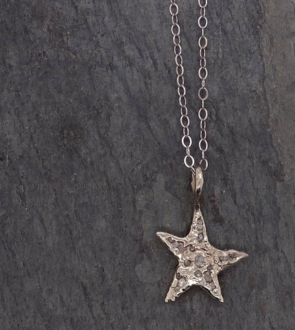 Raw Rough Dainty Diamond White Gold Star Pendant Charm Necklace diamond Hammered Star By Angeline 2047