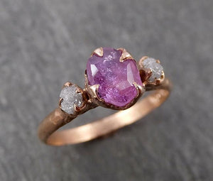 Partially Faceted Sapphire Raw Multi stone Rough Diamond 14k rose Gold Engagement Ring Wedding Ring Custom One Of a Kind Gemstone Ring 1666