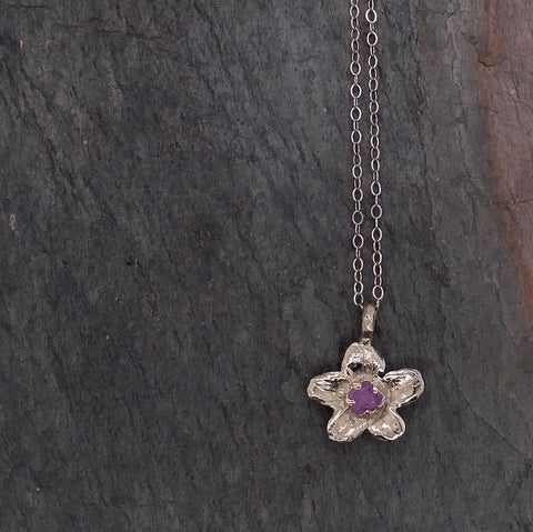 Raw Rough Dainty Diamond White Gold Phlox Flower Pendant Charm Necklace Flower Hammered Star By Angeline 2049