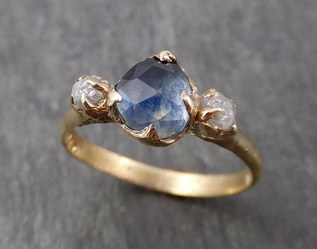 Fancy cut Montana Sapphire Diamond 14k yellow Gold Engagement Ring Wedding Ring Custom One Of a Kind blue Gemstone Ring Multi stone Ring 1665