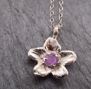 Raw Rough Dainty Sapphire White Gold Phlox Flower Pendant Charm Necklace Flower Hammered Star By Angeline 2049