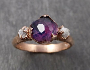 Sapphire Partially Faceted Multi stone Rough Diamond 14k rose Gold Engagement Ring Wedding Ring Custom One Of a Kind Gemstone Ring 1661