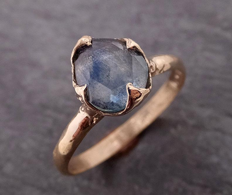 Raw blue green Indicolite Tourmaline Diamond White Gold Engagement Ring Wedding Ring One Of a Kind Gemstone Ring Bespoke Multi stone Ring 0481 - Gemstone ring by Angeline