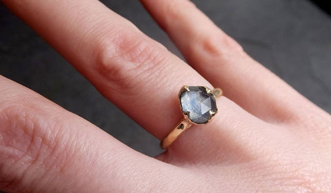 Fancy cut Montana blue Sapphire 14k Yellow gold Solitaire Ring Gold Gemstone Engagement Ring 2041