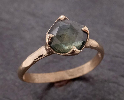 Fancy cut Montana green Sapphire 14k Yellow gold Solitaire Ring Gold Gemstone Engagement Ring 2042