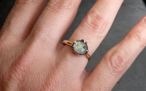 18k Raw Diamond Solitaire Engagement Rough Gold Wedding Ring diamond Wedding Ring Rough Diamond Ring 0479