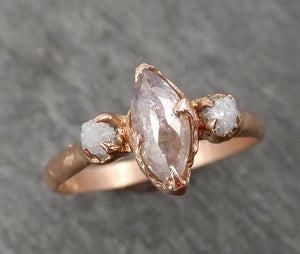 Fancy cut white Diamond Engagement 14k Rose Gold Multi stone Wedding Ring Stacking Rough Diamond Ring byAngeline 1671