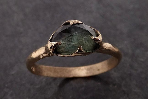 Fancy cut Montana green Sapphire 14k Yellow gold Solitaire Ring Gold Gemstone Engagement Ring 2044