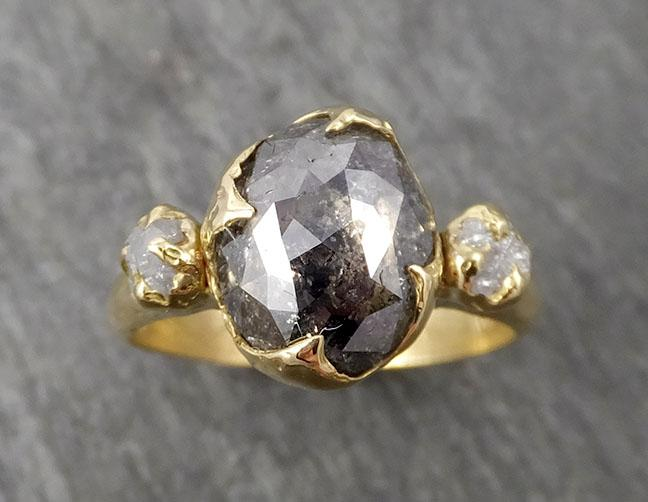 Fancy cut Salt and Pepper Diamond Engagement 18k Yellow Gold Multi stone Wedding Ring Stacking Rough Diamond Ring byAngeline 1670