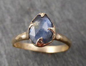 Fancy cut Montana blue Sapphire 14k Yellow gold Solitaire Ring Gold Gemstone Engagement Ring1681