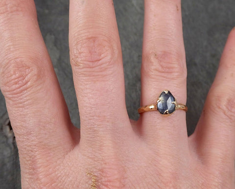 Fancy cut Montana blue Sapphire 14k Yellow gold Solitaire Ring Gold Gemstone Engagement Ring 1681