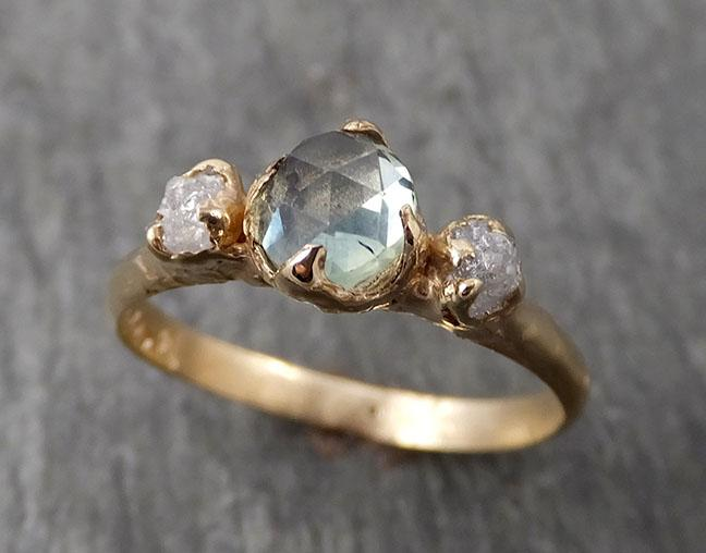 Fancy cut Montana Sapphire Diamond 14k yellow Gold Engagement Ring Wedding Ring Custom One Of a Kind green Gemstone Ring Multi stone Ring 1679