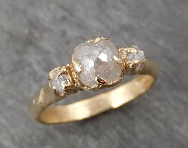 Fancy cut white Diamond Engagement 14k yellow Gold Multi stone Wedding Ring Stacking Rough Diamond Ring byAngeline 1673