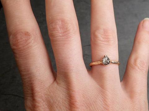 Fancy cut salt and pepper Diamond Solitaire Engagement 14k yellow Gold Wedding Ring byAngeline 2055