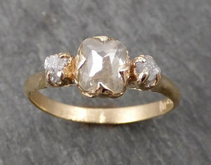 Fancy cut white Diamond Engagement 14k yellow Gold Multi stone Wedding Ring Stacking Rough Diamond Ring byAngeline 1674