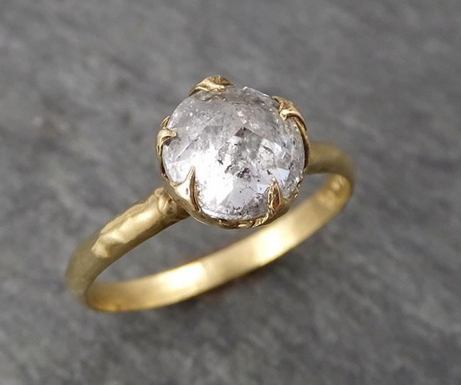 Raw Rough Diamond Engagement Stacking ring Multi stone Wedding anniversary White Gold 14k Rustic byAngeline 0490 - Gemstone ring by Angeline
