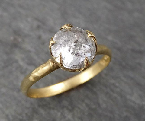 Raw Rough Diamond Engagement Stacking ring Multi stone Wedding anniversary White Gold 14k Rustic byAngeline 0490