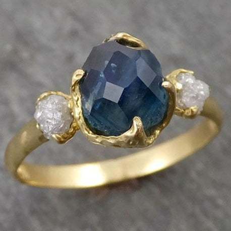 Partially faceted Montana Sapphire Diamond 18k yellow Gold Engagement Ring Wedding Ring Custom One Of a Kind blue Gemstone Ring Multi stone Ring 1682