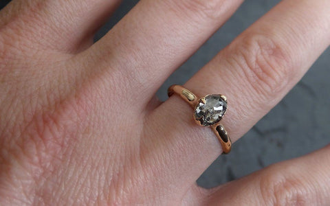 Fancy cut salt and pepper Diamond Solitaire Engagement 14k yellow Gold Wedding Ring byAngeline 2057