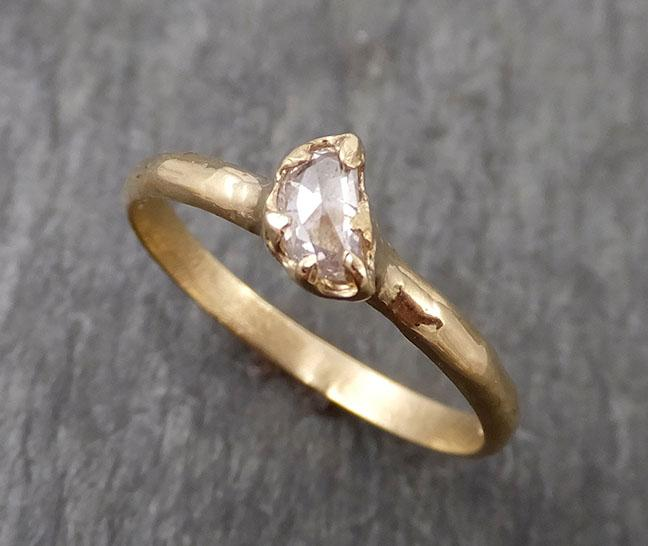 Partially faceted Raw Sapphire Diamond 14k rose Gold Engagement Ring Wedding Ring Custom One Of a Kind Violet Gemstone Ring Three stone Ring 0489