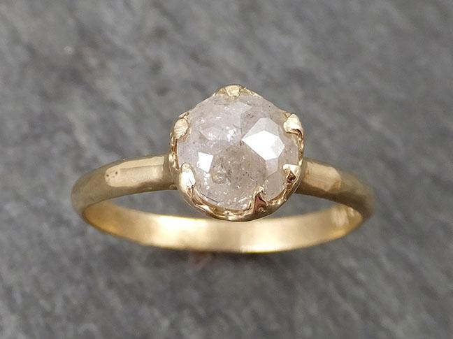 Fancy cut white Diamond Solitaire Engagement 14k yellow Gold Wedding Ring byAngeline 1687