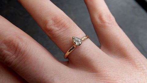 Fancy cut white Diamond Solitaire Engagement yellow Gold Wedding Ring byAngeline 2059