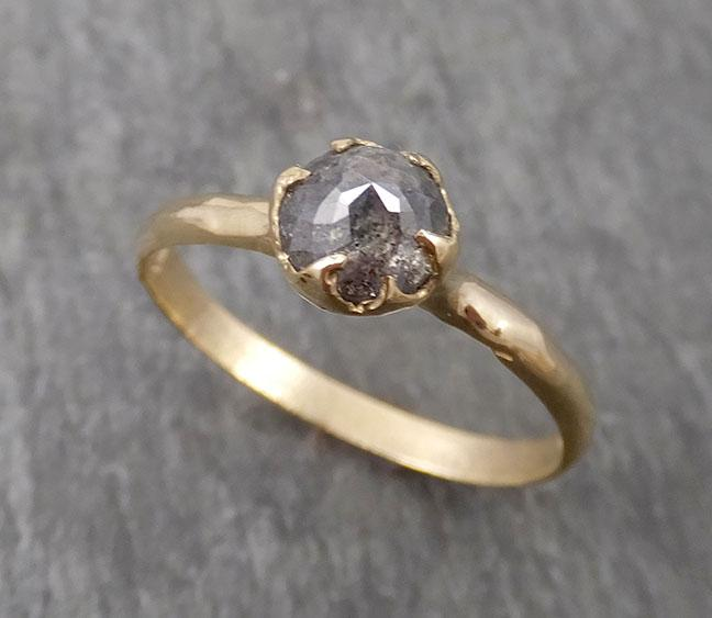 Fancy cut salt and pepper Diamond Solitaire Engagement 14k yellow Gold Wedding Ring Diamond Ring byAngeline 1689