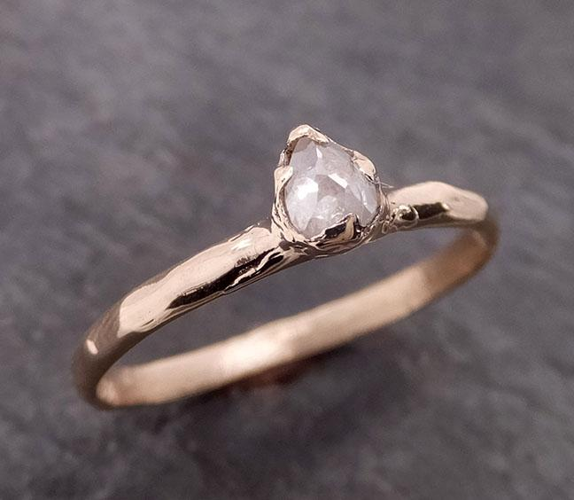 Fancy cut Dainty white Diamond Solitaire Engagement yellow Gold Wedding Ring byAngeline 2060