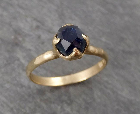 Raw Rough and partially Faceted Aquamarine Diamond 14k rose Gold Multi stone Ring One Of a Kind Gemstone Ring Recycled gold 0496