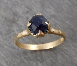 Montana Blue Sapphire Partially Faceted Solitaire 14k Yellow Gold Engagement Ring Wedding Ring Custom One Of a Kind blue Gemstone Ring 1686