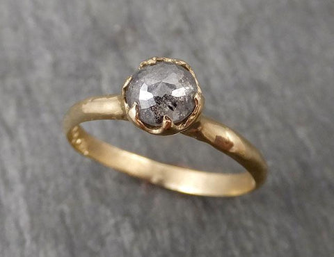 Fancy cut salt and pepper Diamond Solitaire Engagement 14k yellow Gold Wedding Ring Diamond Ring byAngeline 1688