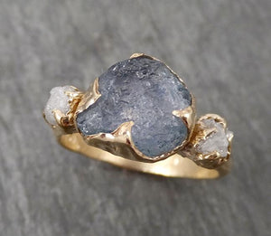 Raw Montana Sapphire Diamond Yellow Gold Engagement Ring Wedding Ring Custom One Of a Kind Gemstone Multi stone Ring 1684