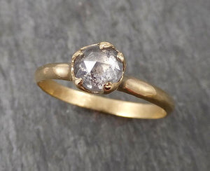 Fancy cut salt and pepper Diamond Solitaire Engagement 14k yellow Gold Wedding Ring Diamond Ring byAngeline 1690