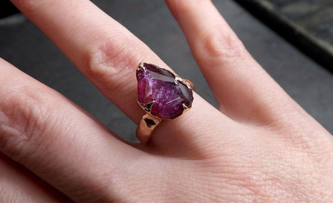 Partially Faceted Sapphire 14k rose Gold statement Cocktail Ring Custom One Of a Kind Gemstone Ring Solitaire 2062