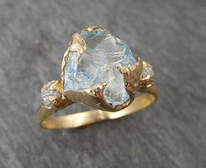 Raw Uncut Aquamarine Diamond yellow Gold Engagement Ring Multi stone Wedding 14k Ring Custom Gemstone Bespoke Three stone Ring byAngeline 1683