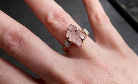 Raw Morganite Diamond Rose Gold Engagement Ring Multi stone Wedding Ring Custom Gemstone Ring Bespoke 14k Pink Conflict Free by Angeline 2064