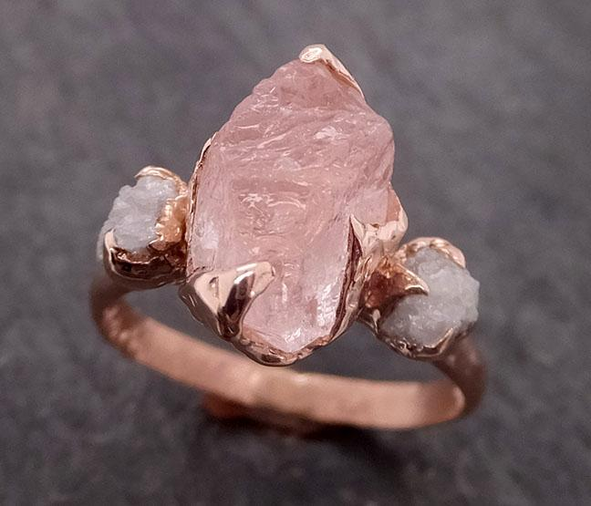 Morganite Diamond Raw Uncut rose 14k Gold Engagement Ring Multi stone Wedding Ring Custom One Of a Kind Gemstone Bespoke byAngeline 2065