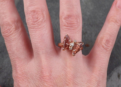 Pink Tourmaline Butterfly rough Diamond 14k Rose Gold Ring One Of a Kind Gemstone Ring Bespoke byAngeline 1694