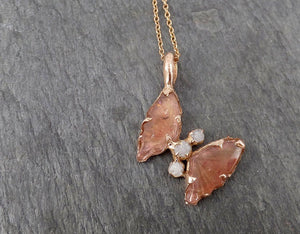 Pink Tourmaline Butterfly rough Diamond 14k Rose Gold Pendant One Of a Kind Gemstone Pendant Bespoke byAngeline 1695