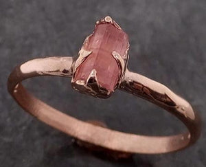 Raw Pink Tourmaline Rose Gold Ring Rough Uncut Pastel Pink Gemstone Promise engagement wedding recycled 14k Size stacking byAngeline 2067