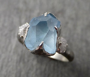 Raw Rough and partially Faceted Aquamarine Diamond 14k White Gold Multi stone Ring One Of a Kind Gemstone Ring Recycled gold 1698