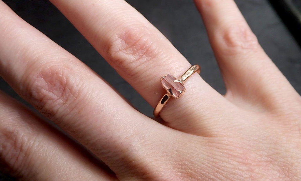 Raw Rough and partially Faceted Pink Topaz 14k rose Gold Ring One Of a Kind Gemstone Ring Recycled gold byAngeline 0508