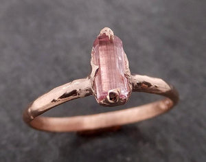 Raw Pink Tourmaline Rose Gold Ring Rough Uncut Pastel Pink Gemstone Promise engagement wedding recycled 14k Size stacking byAngeline 2068