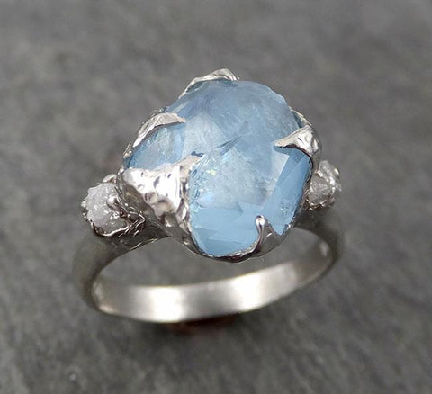 Raw Rough and partially Faceted Aquamarine Diamond 14k White Gold Multi stone Ring One Of a Kind Gemstone Ring Recycled gold 1699