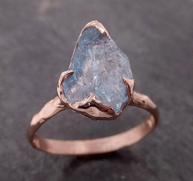 Raw uncut Aquamarine Solitaire Rose Gold Ring Custom One Of a Kind Gemstone Ring Bespoke byAngeline 2066