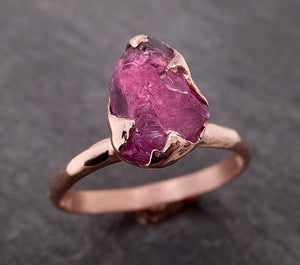Rough Raw Natural Garnet Gemstone ring Recycled Rose Gold One of a kind Gemstone ring 2069