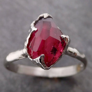 Partially Faceted Ruby Sapphire Solitaire 14k white Gold Engagement Ring Wedding Ring Custom One Of a Kind Gemstone Ring 2071